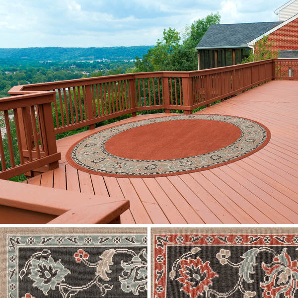 Meticulously Woven Jemma Bordered Floral Indoor/Outdoor Area Rug (7'3 Round)