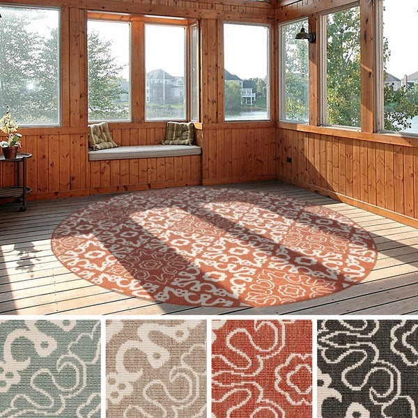 Contemporary Outdoor Patio Rugs :  Olivia Contemporary Geometric Indoor Outdoor Area Rug (73 Square