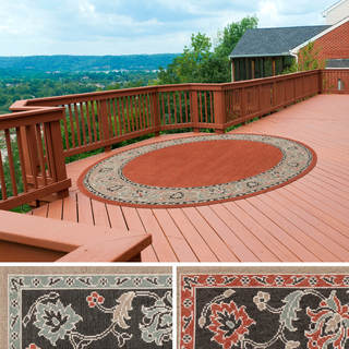 Meticulously Woven Jemma Bordered Floral Indoor/Outdoor Area Rug (8'9 Round)