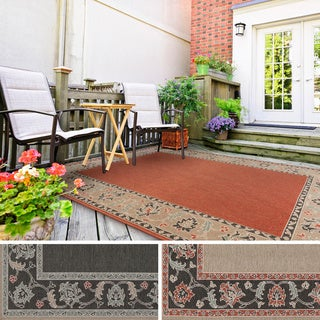 Meticulously Woven Jemma Bordered Floral Indoor/Outdoor Area Rug (5'3 x 7'6)