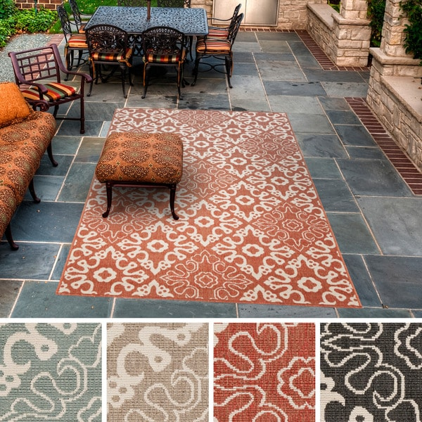 Contemporary Outdoor Patio Rugs :  Woven Olivia Contemporary Geometric IndoorOutdoor Area Rug (6 x 9