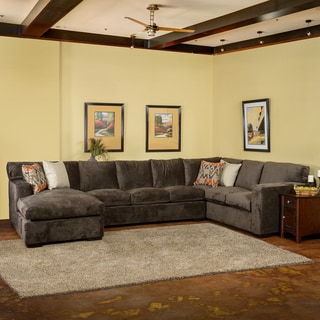 Christopher Knight Home Grande Down Wrapped Grey Fabric Sectional Sofa
