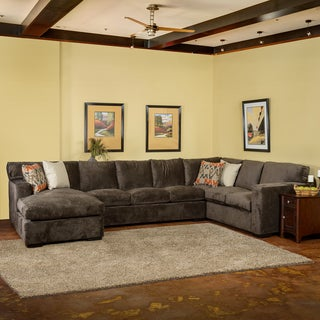 Chirstopher Knight Home Grande Down Wrapped Grey Fabric Sectional Sofa