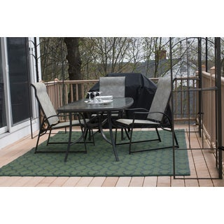 Christopher Knight Home Homesuite Outdoor Rug (8' x 10') with Bonus Honeycomb Dark Green Runner (3' x 5')