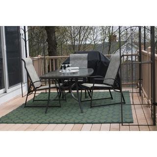 Homesuite Outdoor Rug (8' x 10') with Bonus Honeycomb Dark Green Runner (3' x 5')