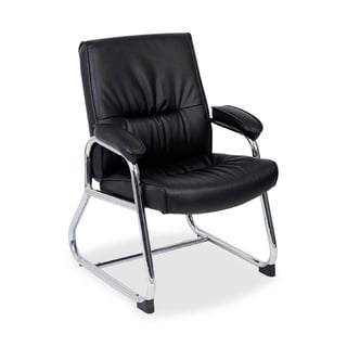 Lorell Bridgemill Black Leather Guest Chair