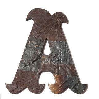 Ozark Folk Art Antique Tin Letter A