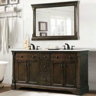 Comcarrera Marble Bathroom Vanity : Carrara Marble 60-inch Double Sink Vanity in Coffee Bean/ White Finish ...