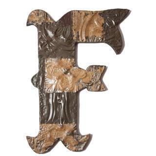 Ozark Folk Art Reclaimed Tin Letter F