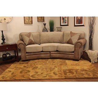 Christopher Knight 'Devon Conversational' Patched Leather Tweed Beige 2-piece Sofa with Rolled Arm