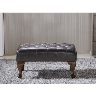 Classic Brown Faux leather Tufted Bench Ottoman with Nail Head