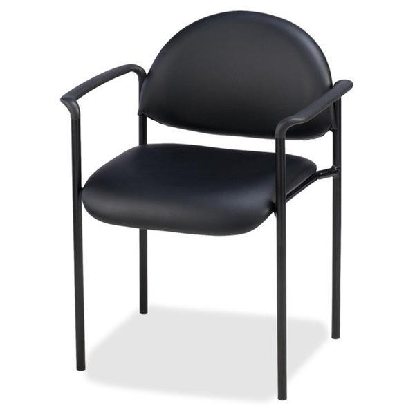 Lorell Black Stackable Reception Guest Chair