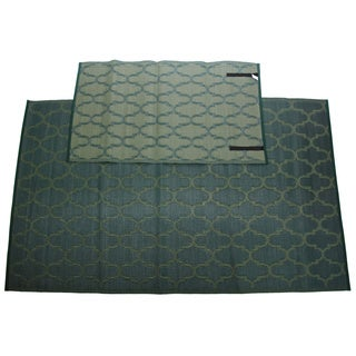 Christopher Knight Homesuite Green Outdoor Rug (5' x 8') with Bonus Honeycomb Green Runner (3' x 5')