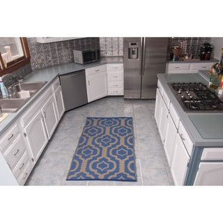 Christopher Knight Homesuite Blue Geometric Rug (5' x 8') with Bonus Blue Runner Trellis (3' x 5')