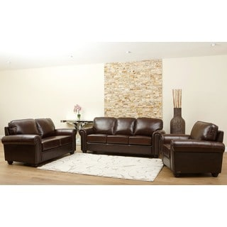 Abbyson Living Tonino 3-piece Top Grain Leather Sofa, Loveseat, and Armchair Set