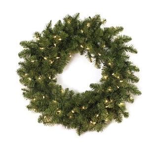 30-inch Pre-lit Aspen Wreath