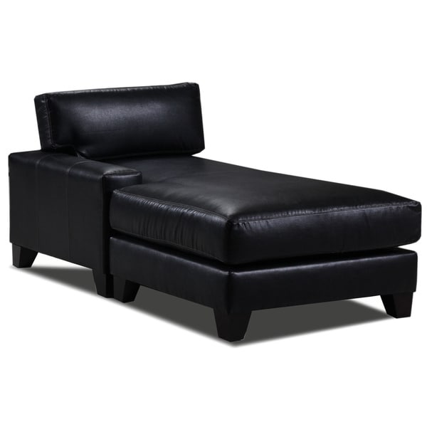 Lasalle bonded leather left arm chaise for Blue leather chaise lounge