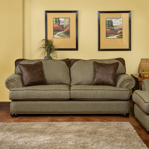 Somette devon patched leather tweed beige sofa with rolled for Leather and tweed sofa