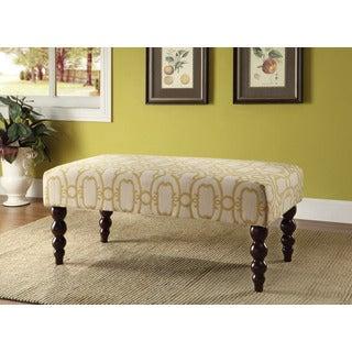 Linon Claire Gold Fabric Geo Ottoman Bench