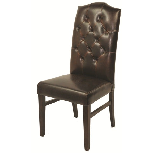 Leather Mocha Tufted High Back Chair