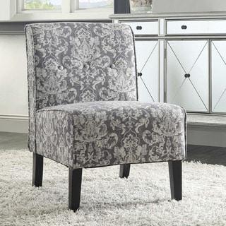 Porch & Den Mathilda Grey Damask Fabric Accent Chair