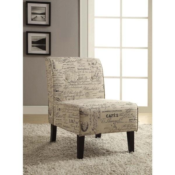 Linon Coco Script Linen Fabric Accent Chair