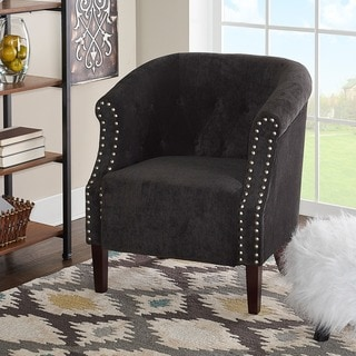 Linon Tyrone Charcoal Tufted Barrel Chair with Nail Heads
