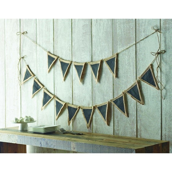 Shabby Customizable Burlap and Chalkboard Pennant Bunting