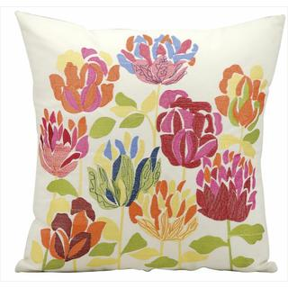 Nourison Mina Victory Embroidered Flowers Indoor/ Outdoor 18-inch Throw Pillow
