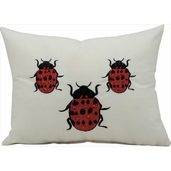 Nourison Mina Victory Ivory Lady Bug Indoor/ Outdoor Throw Pillow