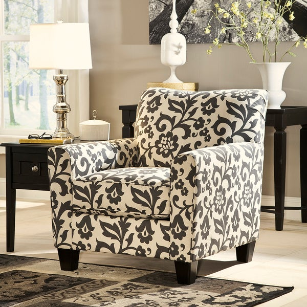 Signature Design By Ashley Levon Charcoal Floral Print Accent Chair 16399206 Overstock Com