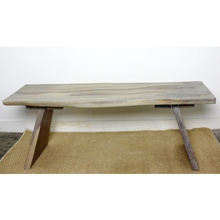 Hand-carved Agate Grey Acacia Bench (Thailand)
