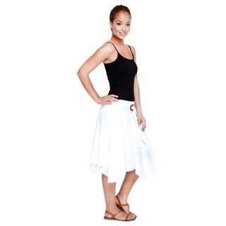Women's White Cotton Belted Skirt (India)