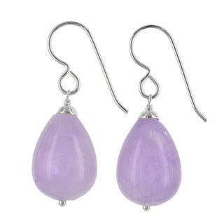 Ashanti Sterling Silver Lavender Amethyst Gemstone Handmade Earrings (Sri Lanka)
