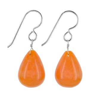 Ashanti Sterling Silver Mandarin Jade Gemstone Handmade Earrings (Sri Lanka)