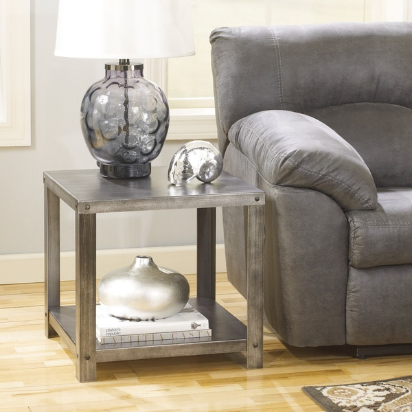 Ashley Coffee End Tables: Signature Design By Ashley Hattney Metal Square End Table