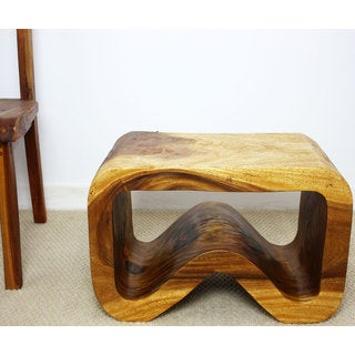 Hand-carved Oak Oil Acacia Wood Bench (Thailand)