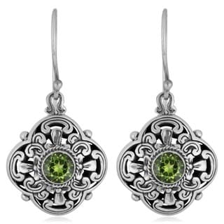 Sterling Silver Peridot 'Floral Cawi' Dangle Earrings (Indonesia)
