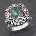 Sterling Silver Mystic Topaz 'Floral Blossoms' Cocktail Ring (Indonesia)