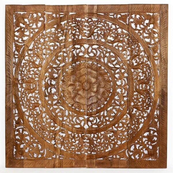 Hand carved teak wood lotus wall panels thailand - Carved wood wall art panels ...