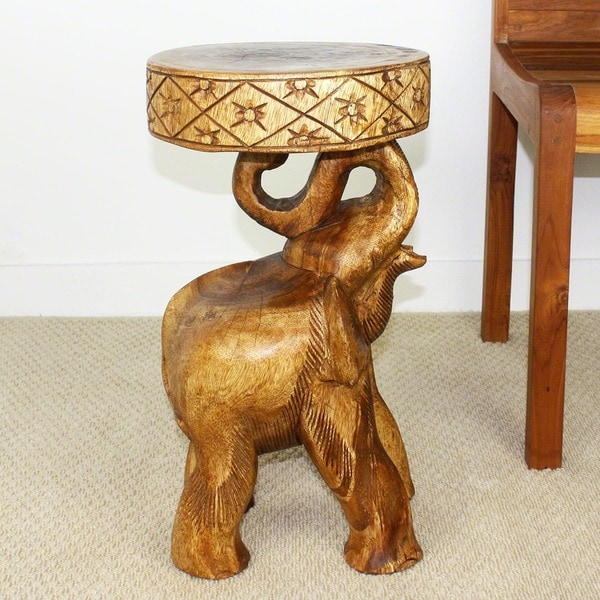 Hand-carved Walnut Oil Acacia Chang Stool (Thailand)
