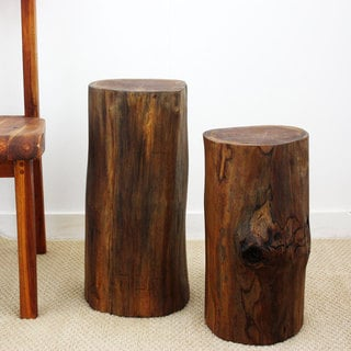 Set of 2 Hand-carved Walnut Oil Teak Tree Stump Stool (Thailand)