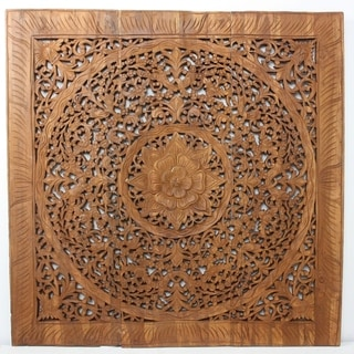 Hand-carved Recycled Teak Lotus Wall Panel (Thailand)