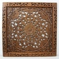 Hand-carved Recycled Teak Framed Lotus Wall Panel (Thailand)