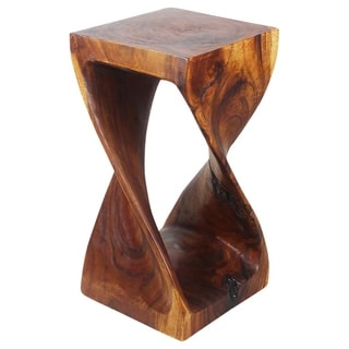 Hand-carved 12 x 23 Walnut Oiled Acacia Wood Twist Stool (Thailand)