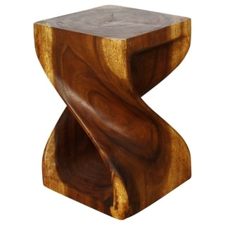 Hand-carved 12 x 18 Walnut Oiled Acacia Twist-side Stool (Thailand)