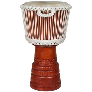 X8 Drums Ivory Elite Professional Carved Djembe Drum (Indonesia)