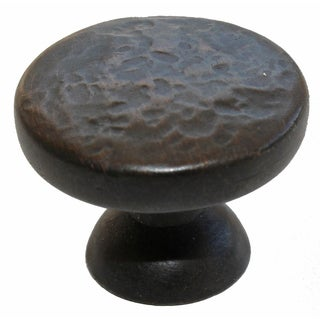 GlideRite 1.25 inch Oil Rubbed Bronze Round Hammered Finish Cabinet Knobs (Pack of 10)