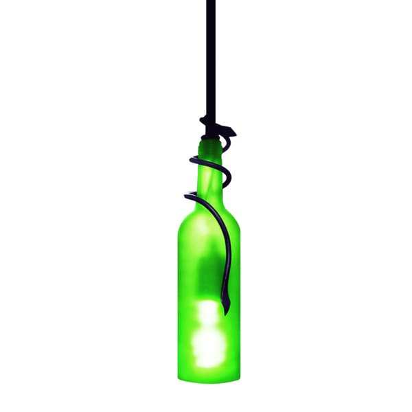 Epicureanist Green Wine Bottle Ceiling Light Fixture