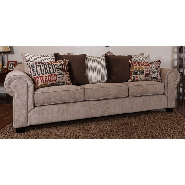 Somette Devore Oversized Beige Fabric Sofa with Loose Fitted Back